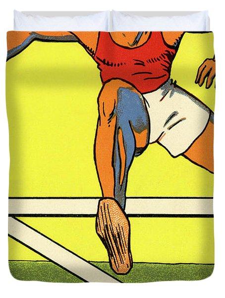 Olympics 1924 Paris France Hurdle Race Duvet Cover