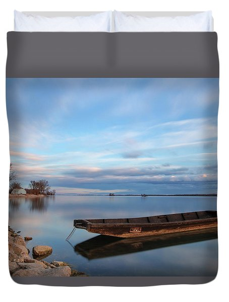 Duvet Cover featuring the photograph On The Shore Of The Lake by Davor Zerjav