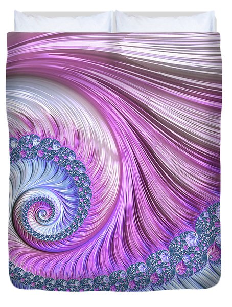 Duvet Cover featuring the digital art Opal Nautilus by Susan Maxwell Schmidt