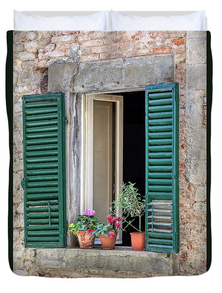 Open Window Of Tuscany Duvet Cover