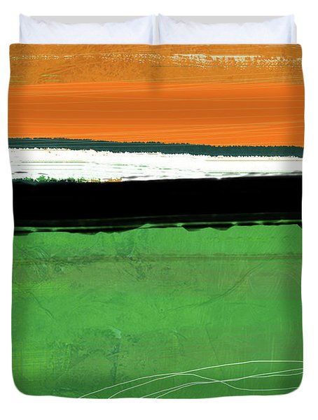 Orange And Green Abstract I Duvet Cover