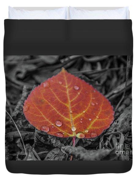 Orange Aspen Leaf Duvet Cover