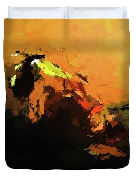 Orange Bull Cat Duvet Cover