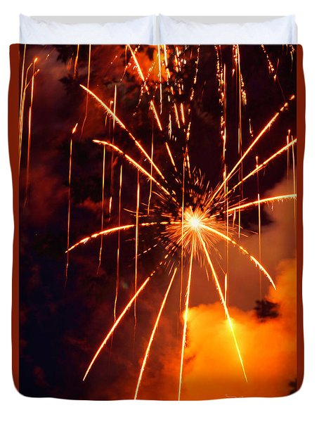 Orange Fireworks Duvet Cover