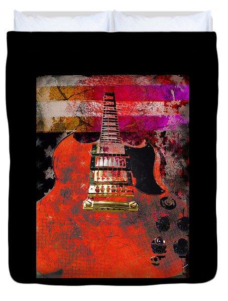Orange Electric Guitar And American Flag Duvet Cover