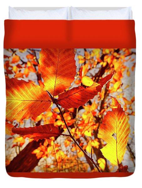 Orange Fall Leaves Duvet Cover