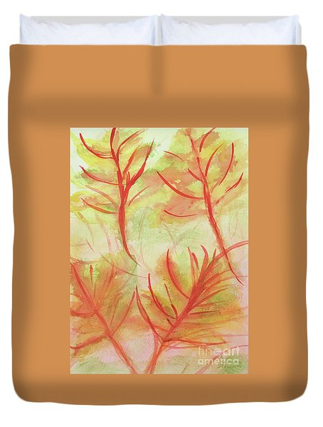 Orange Fanciful Leaves Duvet Cover