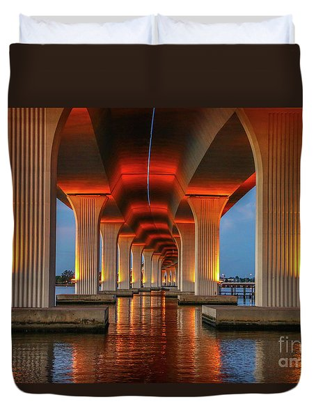 Duvet Cover featuring the photograph Orange Light Bridge Reflection by Tom Claud