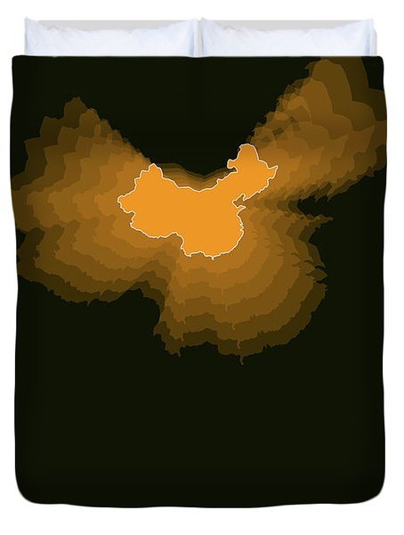 Orange Map Of China  Duvet Cover