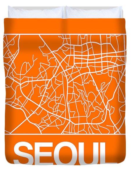 Orange Map Of Sao Paulo Duvet Cover
