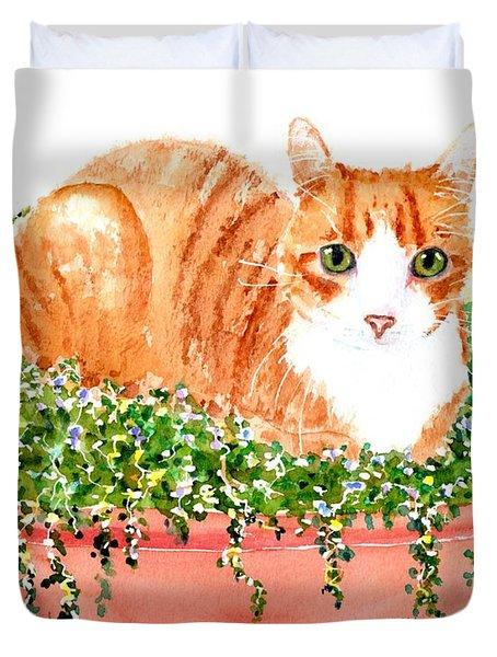 Orange Tabby Cat In Flower Pot Duvet Cover