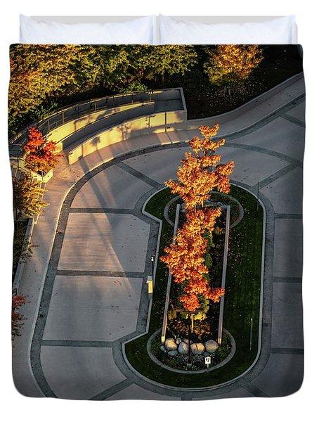 Orange Trees In Autumn Duvet Cover