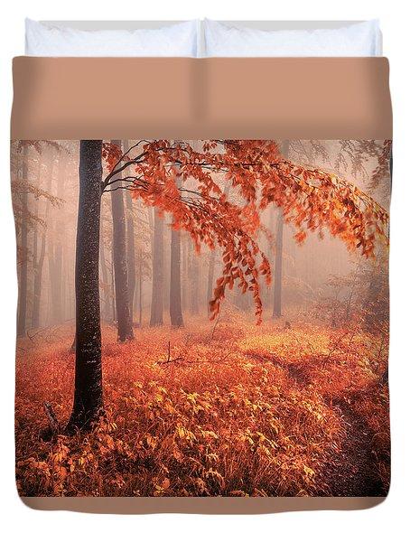 Orange Wood Duvet Cover