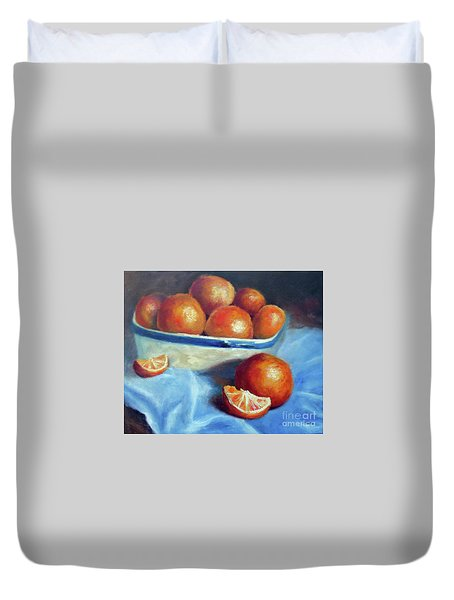 Oranges And Blue Duvet Cover