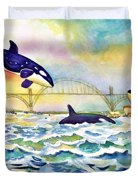 Orcas In Yaquina Bay Duvet Cover