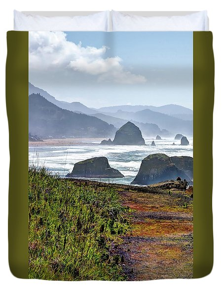 Duvet Cover featuring the photograph Oregon Coast Formations by Jerry Sodorff