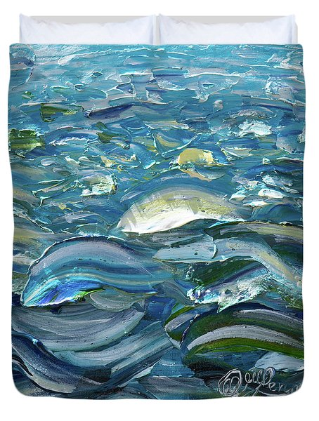Duvet Cover featuring the painting Original Oil Painting With Palette Knife On Canvas - Impressionist Roling Blue Sea Waves  by OLena Art Brand