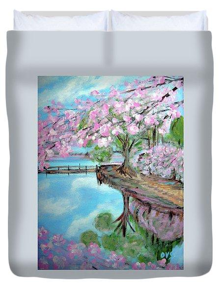Original Painting. Joy Of Spring. Duvet Cover