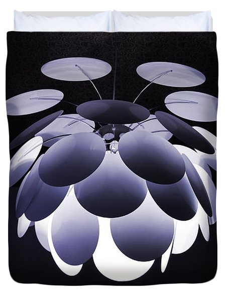 Duvet Cover featuring the photograph Ornamental Ceiling Light Fixture - Blue by Debi Dalio