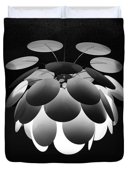 Duvet Cover featuring the photograph Ornamental Ceiling Light Fixture - Grayscale by Debi Dalio