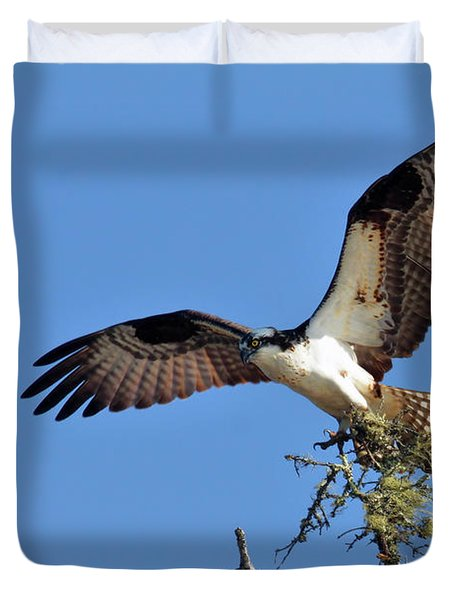 Osprey With Nesting Materials Duvet Cover