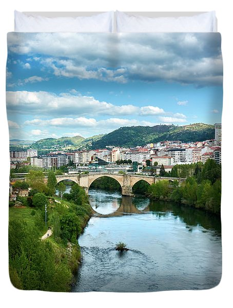 Ourense And The Roman Bridge From The Millennium Bridge Duvet Cover