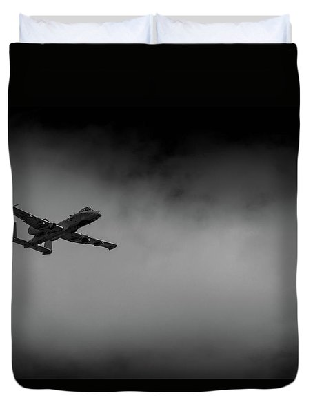 Duvet Cover featuring the photograph Out Of The Clouds - A-10c Thunderbolt by Doug Camara