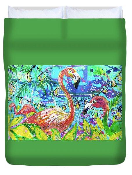 Outdoor Flamingo Party Duvet Cover