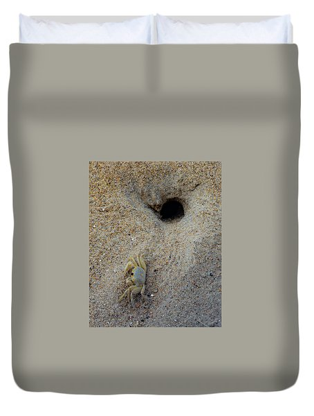 Duvet Cover featuring the photograph Outer Banks Ghost Crab by Lora J Wilson