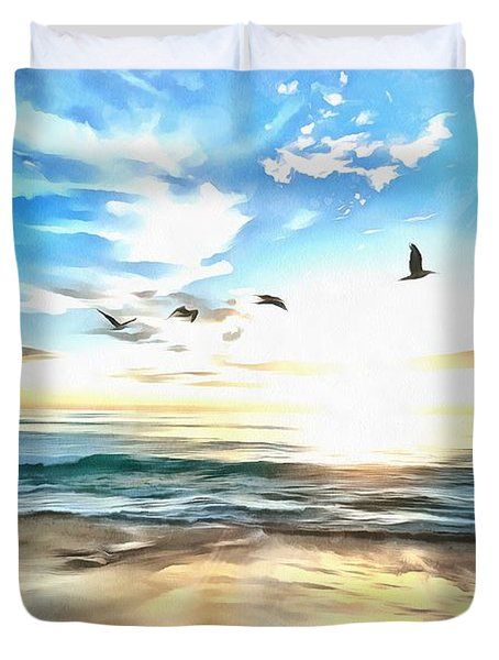 Duvet Cover featuring the painting Outer Banks by Harry Warrick