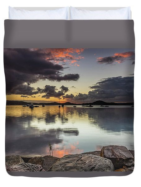 Overcast Waterscape With Hints Of Colour Duvet Cover