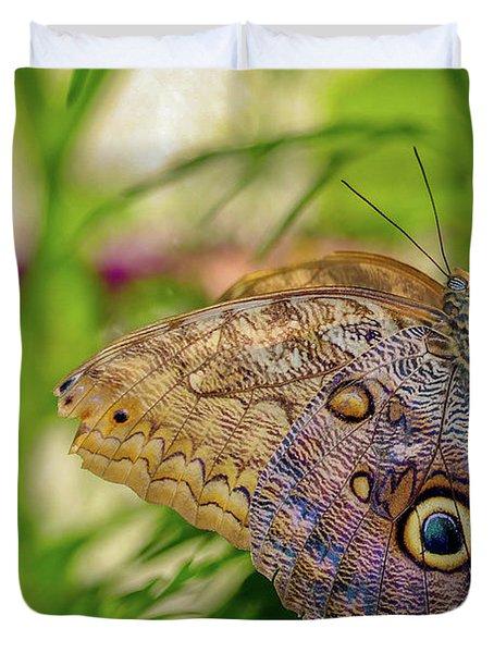 Owl Butterfly Duvet Cover