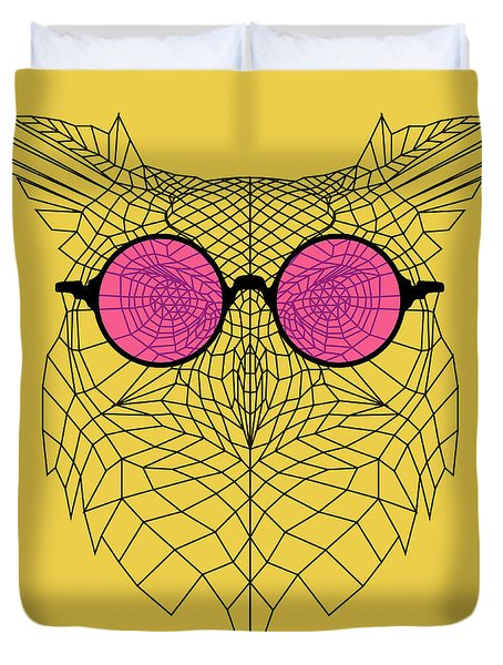 Owl In Pink Glasses Duvet Cover