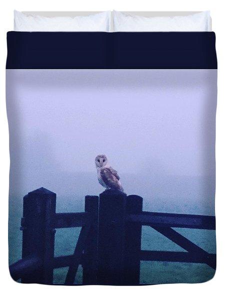 Owl In The Mist Duvet Cover