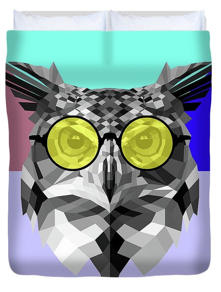 Owl In Yellow Glasses Duvet Cover