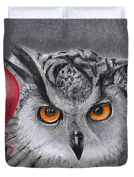 Owl With The Red Balloon Duvet Cover