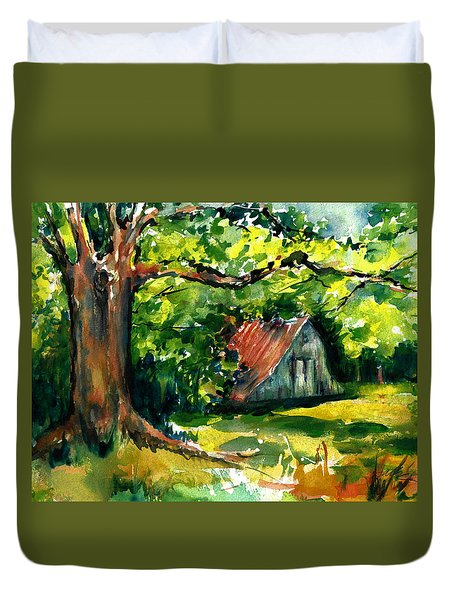 Ozarks Barn In Boxley Valley - Late Summer Duvet Cover