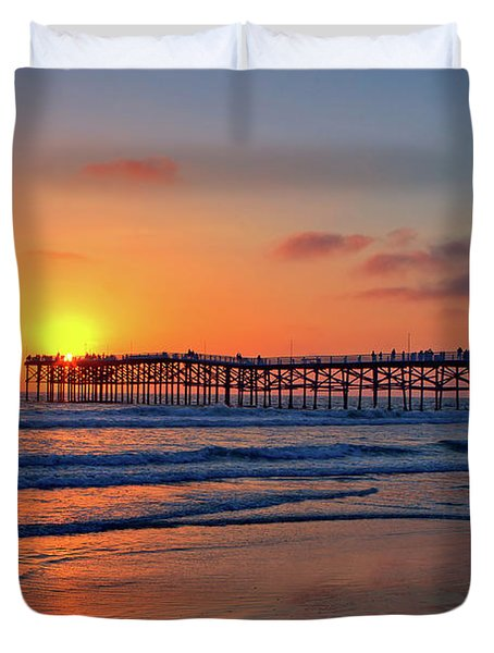 Pacific Beach Pier Sunset Duvet Cover