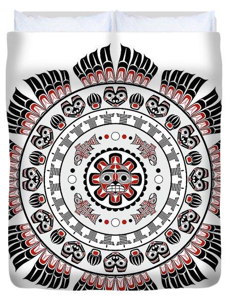 Pacific Northwest Native American Art Mandala Duvet Cover