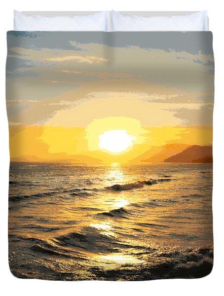 Pacific Sunset Impressionism, Santa Monica, California Duvet Cover