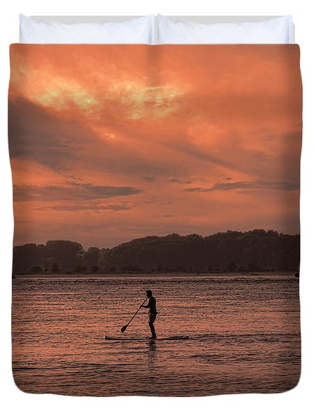 Paddleboarding On The Great Peconic Bay Duvet Cover