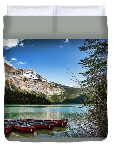 Paddles For Emerald Lake Duvet Cover