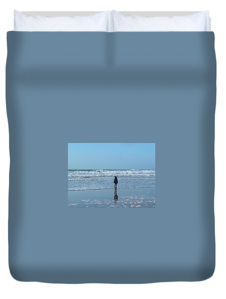 Paddling At Sandymouth Beach North Cornwall Duvet Cover