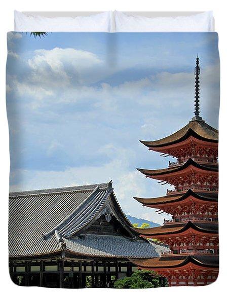 Pagoda - Mayijima, Japan Duvet Cover