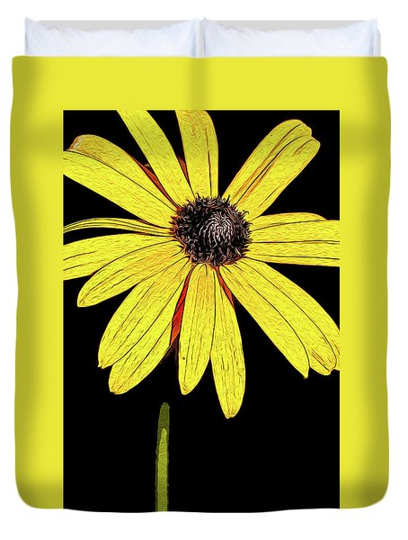 Duvet Cover featuring the mixed media Painted Black-eyed Susan Portrait by Onyonet  Photo Studios