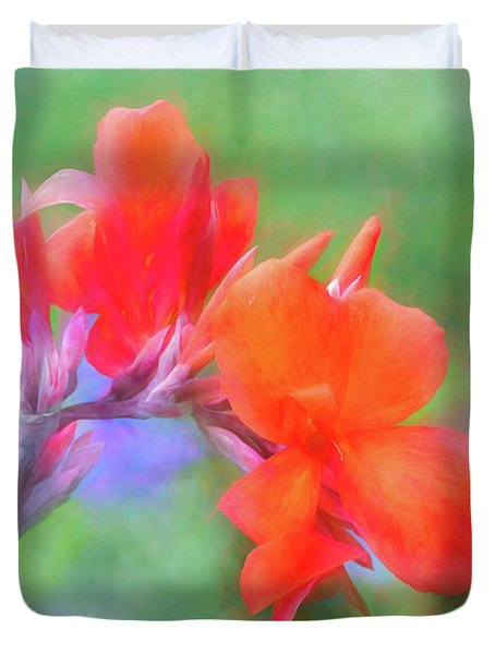 Painted Canna In The Evening Light Duvet Cover
