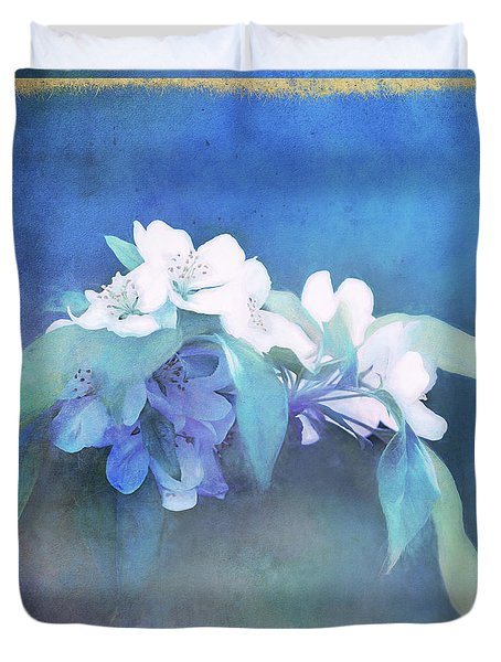 Painted Crabapple Blossoms Duvet Cover