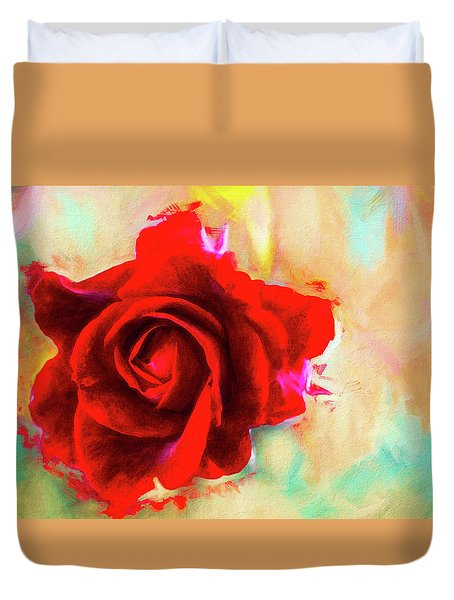 Painted Rose On Colorful Stucco Duvet Cover