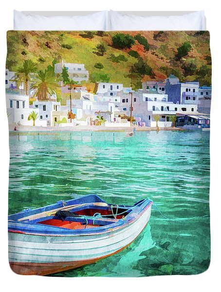 Painting Of Loutro, Crete Duvet Cover