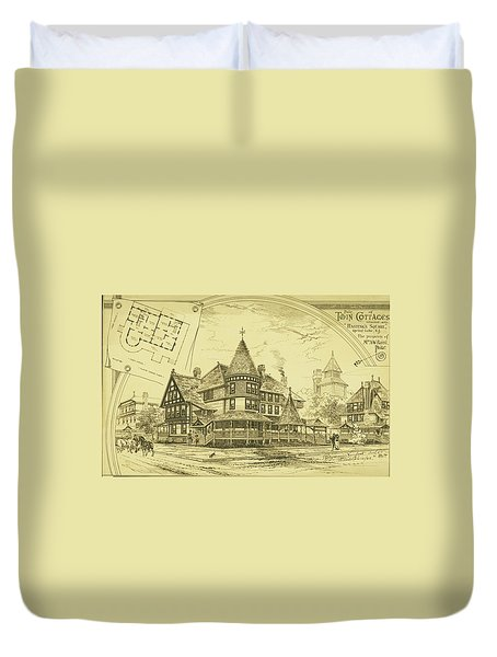 Pair Of Twin Cottages, Hastings Square, Spring Lake, Nj Duvet Cover